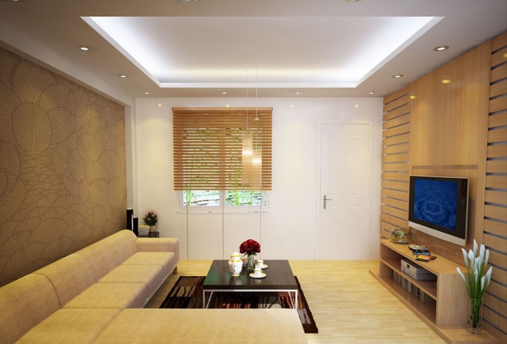 Trần phòng khách nên chọn gam màu nhạt để mang lại sự thoải mái