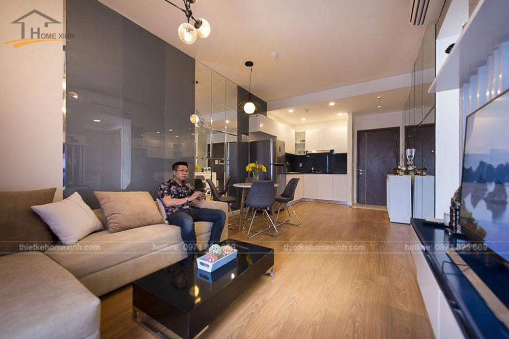 thi công nội thất căn hộ 80m2 tại vicoland hải châu - phòng khách 5